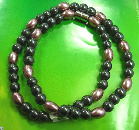 Healing jewelry wholesale supply mineral magnetic hematite necklace combination of brown imitation pearl and black rhine stone