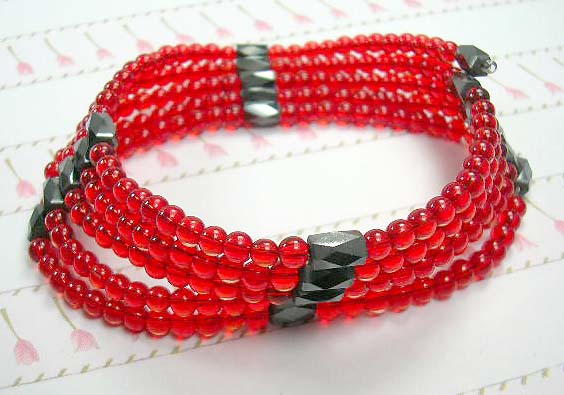 Gemstone hematite wrap gift shopping online wholesale,  magnetic hematite beaded wrap red