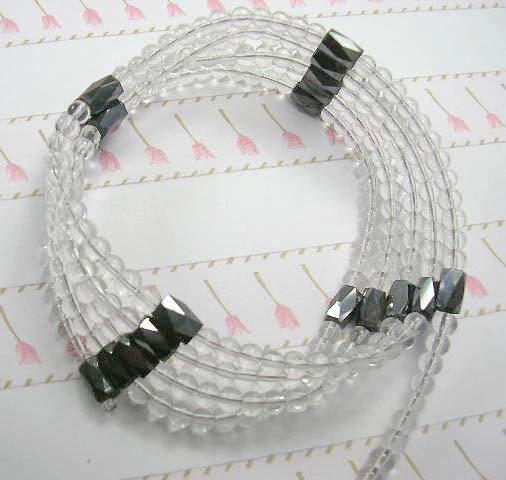 Wholesale online extra strength gemstone hematite beaded clear rhinestone wrap