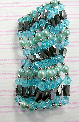 Metalphysical therapy hematite jewelry wholesaler supply hematite wrap with in combination of silver, blue rhinestone, and imitation pearl beads