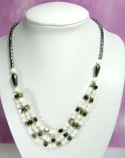 hematite beaded necklace with power bead cat eye