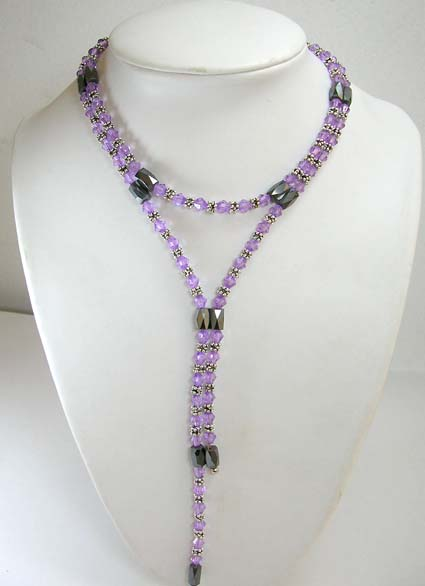 Online magnetic hematite jewelry for purple lover, magnetic hematite wrap with light purple rhinestone and silver beads